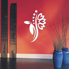 INDIGOS 4051095114727 Wandtattoo / Wandaufkleber - f5 abstraktes Design Tribal / filigrane Pflanze mit schönen Blüten und kleinen Punkten, Vinyl, weiß, 96 x 68 cm