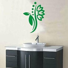 INDIGOS 4051095114772 Wandtattoo / Wandaufkleber - f5 abstraktes Design Tribal / filigrane Pflanze mit schönen Blüten und kleinen Punkten, Vinyl, grün, 96 x 68 cm
