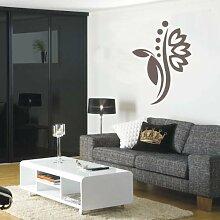 INDIGOS 4051095114796 Wandtattoo / Wandaufkleber - f5 abstraktes Design Tribal / filigrane Pflanze mit schönen Blüten und kleinen Punkten, Vinyl, braun, 96 x 68 cm