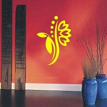 INDIGOS 4051095114932 Wandtattoo / Wandaufkleber - f5 abstraktes Design Tribal / filigrane Pflanze mit schönen Blüten und kleinen Punkten, Vinyl, gelb, 120 x 85 cm
