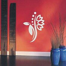 INDIGOS 4051095114963 Wandtattoo / Wandaufkleber - f5 abstraktes Design Tribal / filigrane Pflanze mit schönen Blüten und kleinen Punkten, Vinyl, silber, 120 x 85 cm