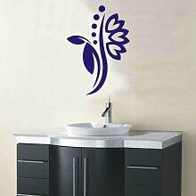 INDIGOS 4051095114987 Wandtattoo / Wandaufkleber - f5 abstraktes Design Tribal / filigrane Pflanze mit schönen Blüten und kleinen Punkten, Vinyl, blau, 120 x 85 cm