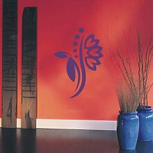 INDIGOS 4051095115069 Wandtattoo / Wandaufkleber - f5 abstraktes Design Tribal / filigrane Pflanze mit schönen Blüten und kleinen Punkten, Vinyl, violett, 120 x 85 cm