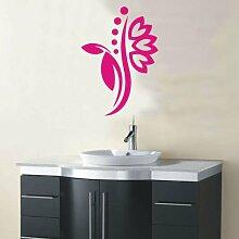 INDIGOS 4051095115175 Wandtattoo / Wandaufkleber - f5 abstraktes Design Tribal / filigrane Pflanze mit schönen Blüten und kleinen Punkten, Vinyl, rosa, 160 x 113 cm