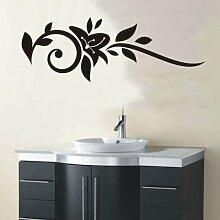 INDIGOS 4051095162421 Wandtattoo / Wandaufkleber - f26 abstraktes Design Tribal / minimalistische geschwungene Ranke mit schönen Blättern und großer Blüte, Vinyl, schwarz, 240 x 85 cm