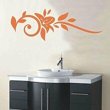 INDIGOS 4051095162513 Wandtattoo / Wandaufkleber - f26 abstraktes Design Tribal / minimalistische geschwungene Ranke mit schönen Blättern und großer Blüte, Vinyl, haselnussbraun, 240 x 85 cm