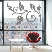 INDIGOS 4051095172482 Wandtattoo / Wandaufkleber - f28 abstraktes Design Tribal / schöne geschwungene Blumenranke mit schönen Blättern und großen Blüten, Vinyl, glasdekor, 160 x 106 cm