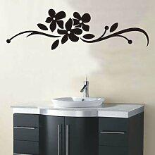 INDIGOS 4051095173403 Wandtattoo / Wandaufkleber - f29 abstraktes Design Tribal / minimalistische geschwungene Blumenranke mit drei großen Blüten und Blättern, Vinyl, schwarz, 240 x 69 cm