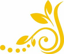 INDIGOS 4051095194569 Wandtattoo / Wandaufkleber -f36 abstraktes Design Pflanze / minimalistisches Blumentribal mit schönen Blättern und Kreisen, Vinyl, gold, 40 x 34 cm