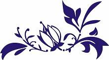 INDIGOS 4051095247456 Wandtattoo / Wandaufkleber - f63 abstraktes Design Tribal / schöne Blumenranke mit großer Blüte und kleinen Blättern zur Verzierung, Vinyl, blau, 80 x 44 cm