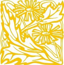 INDIGOS 4051095288886 Wanderaufkleber - e68 strahlende Blümchen mit Blättern, Vinyl, gold, 120 x 118 x 1 cm