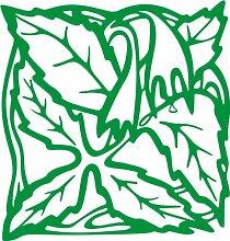 INDIGOS 4051095338383 Wandaufkleber - e82 Blätter mit hängenden Blümchen, Vinyl, grün, 40 x 38 x 1 cm