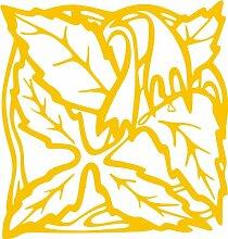 INDIGOS 4051095338444 Wandaufkleber - e82 Blätter mit hängenden Blümchen, Vinyl, gold, 40 x 38 x 1 cm