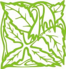INDIGOS 4051095338666 Wandaufkleber - e82 Blätter mit hängenden Blümchen, Vinyl, lindgrün, 80 x 76 x 1 cm