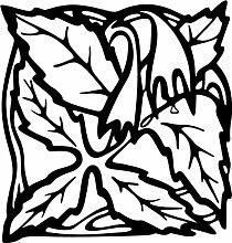 INDIGOS 4051095338703 Wandaufkleber - e82 Blätter mit hängenden Blümchen, Vinyl, schwarz, 96 x 91 x 1 cm