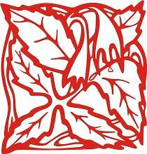 INDIGOS 4051095338710 Wandaufkleber - e82 Blätter mit hängenden Blümchen, Vinyl, rot, 96 x 91 x 1 cm