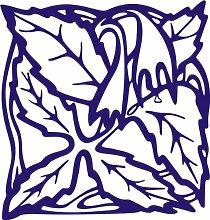 INDIGOS 4051095338772 Wandaufkleber - e82 Blätter mit hängenden Blümchen, Vinyl, blau, 96 x 91 x 1 cm
