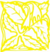 INDIGOS 4051095338901 Wandaufkleber - e82 Blätter mit hängenden Blümchen, Vinyl, gelb, 120 x 114 x 1 cm