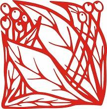 INDIGOS 4051095339076 Wandaufkleber - e83 schöne Blätter mit Kugeln, Vinyl, rot, 40 x 39 x 1 cm
