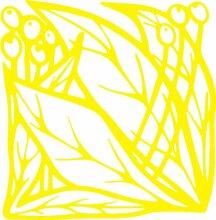 INDIGOS 4051095339267 Wandaufkleber - e83 schöne Blätter mit Kugeln, Vinyl, gelb, 80 x 78 x 1 cm