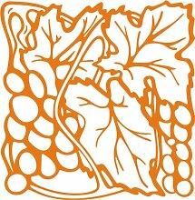 INDIGOS 4051095346654 Wandaufkleber - e93 fruchtige Weintrauben mit Blättern, Vinyl, orange, 96 x 93 x 1 cm