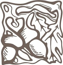 INDIGOS 4051095347224 Wandaufkleber - e94 wunderschöne Blätter mit Kullern, Vinyl, braun, 80 x 77 x 1 cm