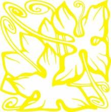 INDIGOS 4051095348085 Wandaufkleber - e95 wunderschöne Blätter mit Spiralen, Vinyl, gelb, 96 x 95 x 1 cm