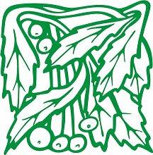 INDIGOS 4051095348641 Wandaufkleber - e96 wunderschöne Blätter mit Kuller, Vinyl, grün, 80 x 78 x 1 cm