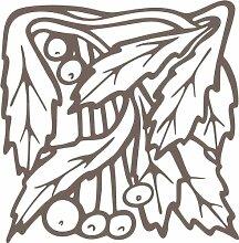 INDIGOS 4051095348665 Wandaufkleber - e96 wunderschöne Blätter mit Kuller, Vinyl, braun, 80 x 78 x 1 cm