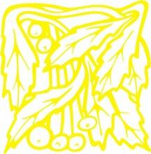 INDIGOS 4051095348986 Wandaufkleber - e95 wunderschöne Blätter mit Kuller, Vinyl, gelb, 120 x 117 x 1 cm
