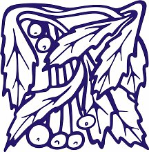 INDIGOS 4051095349037 Wandaufkleber - e95 wunderschöne Blätter mit Kuller, Vinyl, blau, 120 x 117 x 1 cm