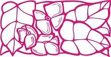 INDIGOS 4051095445173 Wandaufkleber - e135 Blätter mit Blümchen, Vinyl, rosa, 120 x 61 x 1 cm