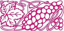 INDIGOS 4051095451839 Wandaufkleber - e142 leckere Weintrauben mit Blatt, Vinyl, rosa, 96 x 47 x 1 cm
