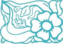 INDIGOS 4051095491873 Wanderaufkleber - e160 schöne Blätter mit hübschem Blümchen, Vinyl, türkis, 80 x 58 x 1 cm