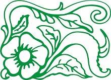 INDIGOS 4051095496632 Wanderaufkleber - e165 wunderschöne Blume mit Blättern und Gewirr, Vinyl, grün, 120 x 86 x 1 cm