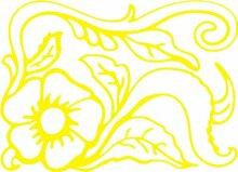 INDIGOS 4051095496793 Wanderaufkleber - e165 wunderschöne Blume mit Blättern und Gewirr, Vinyl, gelb, 160 x 155 x 1 cm