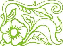 INDIGOS 4051095496915 Wanderaufkleber - e165 wunderschöne Blume mit Blättern und Gewirr, Vinyl, lindgrün, 160 x 155 x 1 cm