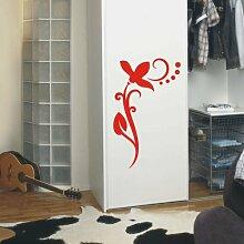 INDIGOS UG 4051095113300 Wandtattoo / Wandaufkleber - f4 abstraktes Design / filigranes Pflanzentribal mit schöner Blüte und Kreisen - Vinyl, rot, 40 x 24 x 1 cm