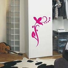 INDIGOS UG 4051095113379 Wandtattoo / Wandaufkleber - f4 abstraktes Design / filigranes Pflanzentribal mit schöner Blüte und Kreisen - Vinyl, rosa, 40 x 24 x 1 cm