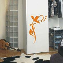 INDIGOS UG 4051095113386 Wandtattoo / Wandaufkleber - f4 abstraktes Design / filigranes Pflanzentribal mit schöner Blüte und Kreisen - Vinyl, haselnussbraun, 40 x 24 x 1 cm