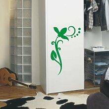 INDIGOS UG 4051095113430 Wandtattoo / Wandaufkleber - f4 abstraktes Design / filigranes Pflanzentribal mit schöner Blüte und Kreisen - Vinyl, lindgrün, 40 x 24 x 1 cm