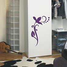 INDIGOS UG 4051095113447 Wandtattoo / Wandaufkleber - f4 abstraktes Design / filigranes Pflanzentribal mit schöner Blüte und Kreisen - Vinyl, violett, 40 x 24 x 1 cm