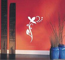 INDIGOS UG 4051095113461 Wandtattoo / Wandaufkleber - f4 abstraktes Design / filigranes Pflanzentribal mit schöner Blüte und Kreisen Vinyl, weiß, 80 x 49 x 1 cm