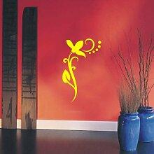 INDIGOS UG 4051095113492 Wandtattoo / Wandaufkleber - f4 abstraktes Design / filigranes Pflanzentribal mit schöner Blüte und Kreisen - Vinyl, gelb, 80 x 49 x 1 cm