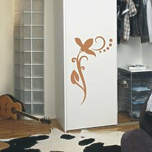 INDIGOS UG 4051095113584 Wandtattoo / Wandaufkleber - f4 abstraktes Design / filigranes Pflanzentribal mit schöner Blüte und Kreisen - Vinyl, hellbraun, 80 x 49 x 1 cm