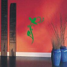 INDIGOS UG 4051095113690 Wandtattoo / Wandaufkleber - f4 abstraktes Design / filigranes Pflanzentribal mit schöner Blüte und Kreisen - Vinyl, grün, 96 x 58 x 1 cm