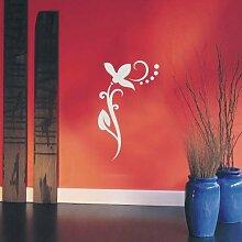 INDIGOS UG 4051095113706 Wandtattoo / Wandaufkleber - f4 abstraktes Design / filigranes Pflanzentribal mit schöner Blüte und Kreisen - Vinyl, silber, 96 x 58 x 1 cm
