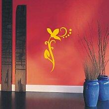 INDIGOS UG 4051095113751 Wandtattoo / Wandaufkleber - f4 abstraktes Design / filigranes Pflanzentribal mit schöner Blüte und Kreisen - Vinyl, gold, 96 x 58 x 1 cm