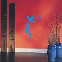 INDIGOS UG 4051095113782 Wandtattoo / Wandaufkleber - f4 abstraktes Design / filigranes Pflanzentribal mit schöner Blüte und Kreisen - Vinyl, türkis, 96 x 58 x 1 cm