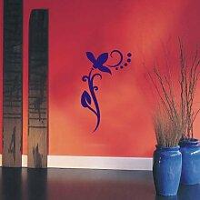 INDIGOS UG 4051095113904 Wandtattoo / Wandaufkleber - f4 abstraktes Design / filigranes Pflanzentribal mit schöner Blüte und Kreisen - Vinyl, blau, 120 x 73 x 1 cm